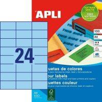 APLI öntapadó etikett címke Ref. 11835 - 70 x 37 mm 3 pályás univerzális kék öntapadó etikett címke (Ref. 11835, LCA11835)