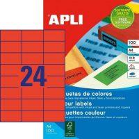 APLI öntapadó etikett címke Ref. 11836 - 70 x 37 mm 3 pályás univerzális piros öntapadó etikett címke (Ref. 11836, LCA11836)