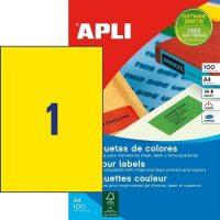 APLI öntapadó etikett címke Ref. 11838 - 210 x 297 mm 1 pályás univerzális sárga öntapadó etikett címke (Ref. 11838, LCA11838)