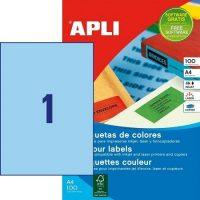 APLI öntapadó etikett címke Ref. 11839 - 210 x 297 mm 1 pályás univerzális kék öntapadó etikett címke (Ref. 11839, LCA11839)