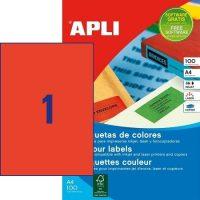 APLI öntapadó etikett címke Ref. 11840 - 210 x 297 mm 1 pályás univerzális piros öntapadó etikett címke (Ref. 11840, LCA11840)