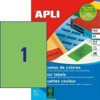 APLI öntapadó etikett címke Ref. 11841 - 210 x 297 mm 1 pályás univerzális zöld öntapadó etikett címke (Ref. 11841, LCA11841)