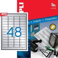 APLI No. 12973 lézeres 45,7 x 21,2 mm méretű, ezüst ipari öntapadó etikett címke, tartós ragasztóval A4-es íven - 4800 címke / doboz - 100 ív / doboz (LCA12973)