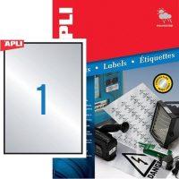 APLI No. 12974 lézeres 210 x 297 mm méretű, ezüst ipari öntapadó etikett címke, tartós ragasztóval A4-es íven - 100 címke / doboz - 100 ív / doboz (LCA12974)