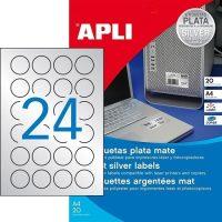 APLI No. 12975 lézeres 40 mm átmérőjű ezüst ipari öntapadó etikett címke, tartós ragasztóval A4-es íven - 480 címke / csomag - 20 ív / csomag (LCA12975)