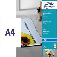 Avery Zweckform No. 2501 öntapadó fólia tintasugaras nyomtatóhoz (vastagság: 0,17 mm, méret: A4, 50 ív / csomag)(Avery 2501)