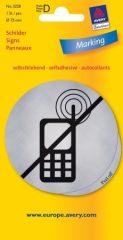 Avery Zweckform No. 3228 öntapadó 75 mm átmérőjű ezüst színű információs matrica Mobiltelefon használata tilos! piktogrammal - 1 etikett címke / csomag - 1 ív / csomag (Avery 3228)