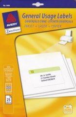 Avery Zweckform No. 3490HU univerzális 70 x 36 mm -es fehér etikett címke A4 -es íven - 600 címke / csomag - 25 ív / csomag (Avery 3490HU)