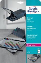 Avery Zweckform No. 3566 extra hőálló írásvetítő fólia színes lézernyomtatóhoz (vastagság: 0,13 mm, méret: A4, 20 ív / csomag)(Avery 3566)