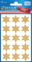 Avery Zweckform Z-Design No. 4112 karácsonyi csillogó papír matrica - arany színű csillagok mintával - kiszerelés: 2 ív / csomag (Avery Z-Design 4112)
