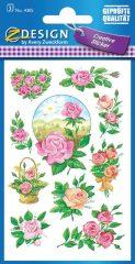 Avery Zweckform Z-Design No. 4305 öntapadó papír matrica - különböző színű rózsák mintával - kiszerelés: 3 ív / csomag (Avery Z-Design 4305)