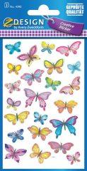 Avery Zweckform Z-Design No. 4390 öntapadó papír matrica - különböző színű pillangók mintával - kiszerelés: 3 ív / csomag (Avery Z-Design 4390)