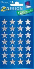 Avery Zweckform Z-Design No. 52228 karácsonyi fényes fólia matrica - ezüst színű csillagok mintával - kiszerelés: 3 ív / csomag (Avery Z-Design 52228)