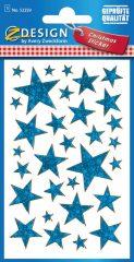 Avery Zweckform Z-Design No. 52259 karácsonyi fólia matrica - kék színű csillagok mintával - kiszerelés: 1 ív / csomag (Avery Z-Design 52259)