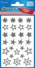 Avery Zweckform Z-Design No. 52275 karácsonyi csillogó matrica - ezüst színű csillagok mintával - kiszerelés: 1 ív / csomag (Avery Z-Design 52275)