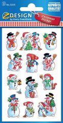 Avery Zweckform Z-Design No. 52335 karácsonyi papír matrica - vidám hóemberkék mintával - kiszerelés: 3 ív / csomag (Avery Z-Design 52335)