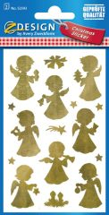 Avery Zweckform Z-Design No. 52393 öntapadó karácsonyi fólia matrica - arany színű angyalkák motívumokkal - kiszerelés: 2 ív / csomag (Avery Z-Design 52393)