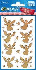 Avery Zweckform Z-Design No. 52420 karácsonyi fólia matrica - arany színű angyalkák motívumokkal - kiszerelés: 1 ív / csomag (Avery Z-Design 52420)