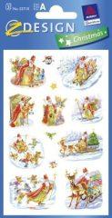 Avery Zweckform Z-Design No. 52710 karácsonyi papír matrica - Mikulás, szán, gyerekek, fenyőfa motívumokkal - kiszerelés: 3 ív / csomag (Avery Z-Design 52710)
