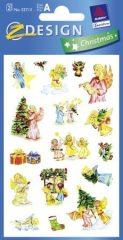 Avery Zweckform Z-Design No. 52713 karácsonyi csillogó papír matrica - karácsonyra készülődő angyalkák motívumokkal - kiszerelés: 2 ív / csomag (Avery Z-Design 52713)