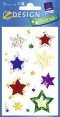 Avery Zweckform Z-Design No. 52718 karácsonyi aranyozott papír matrica - színes csillagok mintával - kiszerelés: 2 ív / csomag (Avery Z-Design 52718)