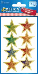 Avery Zweckform Z-Design No. 52749 karácsonyi aranyozott papír matrica - kék, piros és zöld színű csillag motívumokkal - kiszerelés: 2 ív / csomag (Avery Z-Design 52749)