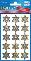 Avery Zweckform Z-Design No. 52760 karácsonyi aranyozott papír matrica - dombornyomással, csillagok mintával - kiszerelés: 1 ív / csomag (Avery Z-Design 52760)