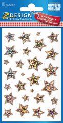Avery Zweckform Z-Design No. 52764 karácsonyi átlátszó csillogó matrica - piros színű csillagok motívumokkal - kiszerelés: 1 ív / csomag (Avery Z-Design 52764)