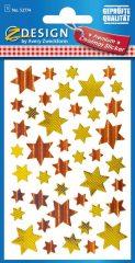 Avery Zweckform Z-Design No. 52774 prémium minőségű, öntapadó fólia matrica - arany és bronz színű csillagok motívumokkal - kiszerelés: 1 ív / csomag (Avery Z-Design 52774)