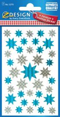 Avery Zweckform Z-Design No. 52775 prémium minőségű, öntapadó fólia matrica - ezüst és kék színű csillagok motívumokkal - kiszerelés: 1 ív / csomag (Avery Z-Design 52775)