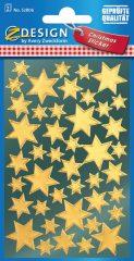 Avery Zweckform Z-Design No. 52806 magasfényű, öntapadó fólia matrica - arany színű csillagokkal - kiszerelés: 2 ív / csomag (Avery Z-Design 52806)