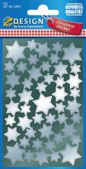 Avery Zweckform Z-Design No. 52812 magasfényű, öntapadó fólia matrica - ezüst színű csillagokkal - kiszerelés: 2 ív / csomag (Avery Z-Design 52812)