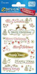 Avery Zweckform Z-Design No. 52876 öntapadó karácsonyi fólia matrica - Merry Christmas felirattal - kiszerelés: 1 ív / csomag (Avery Z-Design 52876)