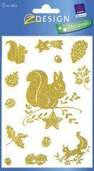 Avery Zweckform Z-Design No. 52915 karácsonyi ablakdekor matrica - mókus és tölgy mintával - kiszerelés: 1 ív / csomag (Avery Z-Design 52915)