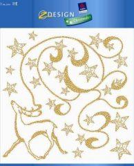 Avery Zweckform Z-Design No. 52934 karácsonyi ablakdekor matrica - díszes arany színű szarva és csillagok mintával - kiszerelés: 1 ív / csomag (Avery Z-Design 52934)