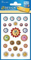 Avery Zweckform Z-Design No. 53878 öntapadó papír matrica - nevető virágfejek képekkel - kiszerelés: 3 ív / csomag (Avery Z-Design 53878)