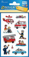 Avery Zweckform Z-Design No. 54137 öntapadó papír matrica - élet a mentőknél, rendőröknél, tűzoltóknál képekkel - kiszerelés: 3 ív / csomag (Avery Z-Design 54137)
