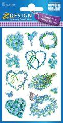 Avery Zweckform Z-Design No. 54382 prémium minőségű, öntapadó papír matrica - kék virágok mintával - kiszerelés: 1 ív / csomag (Avery Z-Design 54382)