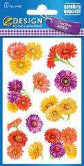 Avery Zweckform Z-Design No. 54483 öntapadó papír matrica - színes gerbera motívumokkal - kiszerelés: 2 ív / csomag (Avery Z-Design 54483)