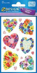 Avery Zweckform Z-Design No. 54486 öntapadó papír matrica - virágból készült szívek motívumokkal - kiszerelés: 2 ív / csomag (Avery Z-Design 54486)