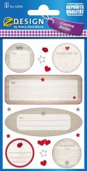 Avery Zweckform Z-Design No. 55096 öntapadó ajándékkísérő matrica - szívecskés motívumokkal - kiszerelés: 1 ív / csomag (Avery Z-Design 55096)