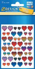 Avery Zweckform Z-Design No. 55209 kristály 3D matrica - különböző színű szív mintával - kiszerelés: 1 ív / csomag (Avery Z-Design 55209)