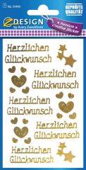 Avery Zweckform Z-Design No. 55490 öntapadó arany színű matrica Herzlichen Glückwunsch felirattal.