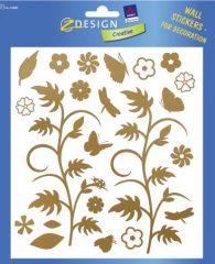 Avery Zweckform Z-Design No. 55882 átlátszó matrica falak, szobák, bútorok díszítésére - arany virág motívummal - kiszerelés: 1 ív / csomag (Avery Z-Design 55882)