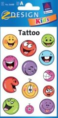 Avery Zweckform Z-Design No. 56688 öntapadó tetoválás matrica - színes nevető arcok - kiszerelés: 1 ív / csomag (Avery Z-Design 56688)