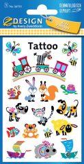 Avery Zweckform Z-Design No. 56733 öntapadó tetoválás matrica - tréfás állatkák motívumokkal - kiszerelés: 1 ív / csomag (Avery Z-Design 56733)