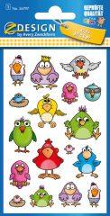 Avery Zweckform Z-Design No. 56797 öntapadó fémhatású matrica vicces madárkák képekkel.