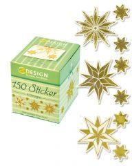 Avery Zweckform Z-Design No. 56823 öntapadó karácsonyi matrica arany színű jégcsillag motívumokkal.