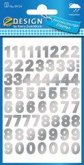 Avery Zweckform Z-Design No. 59124 időjárásálló öntapadó számok - ezüst színben - kiszerelés: 2 ív / csomag (Avery Z-Design 59124)