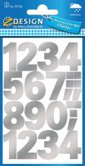 Avery Zweckform Z-Design No. 59126 időjárásálló öntapadó számok - ezüst színben - kiszerelés: 2 ív / csomag (Avery Z-Design 59126)